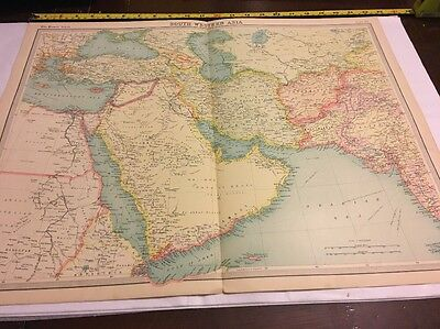 Old Map For Framing South Western Asia Times Atlas 1922 Large