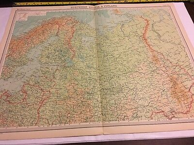 Old Map For Framing Northern Russia & Finland Times Atlas 1922 Large
