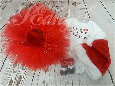 MY FIRST CHRISTMAS Baby Girl Tutu skirt+vest+hat+socks Outfits Gift size 6-9m