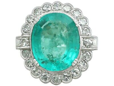 Vintage French 8.19 ct Emerald & 1.48 ct Diamond 18 ct White Gold Dress Ring