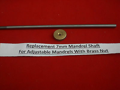 Replacement 6.19mm Shaft For Adjustable Pen Mandrel & Brass Knurled Nut