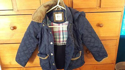 Mini Boden navy blue quilted coat 3-4y