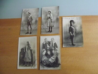 Collection of 5 Old Postcards of ACTORS & ACTRESSES early 1900 printed signature
