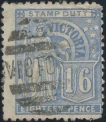 VICTORIA 1886-1900 inscribed Stamp Duty 1/6 Blue ACSC 69 cv$180 fine used