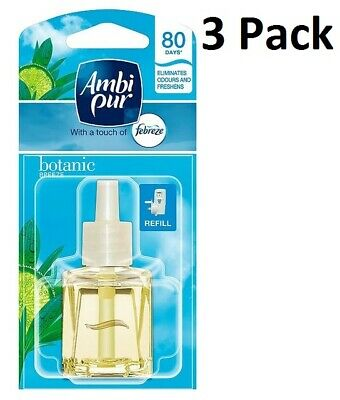 3 X 20Ml Ambi Pur Febreze Plug In Refill Air Freshener - Botanic Breeze (Spring)
