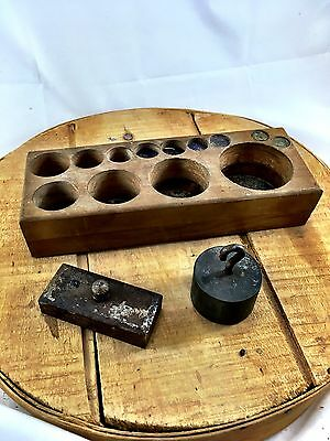 Set of 2 Antique scale weights wood stand rack