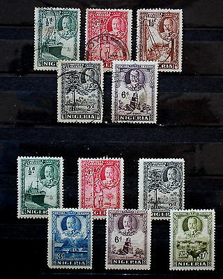 NIGERIA: KGV pictorials 1936, mint and used; high cat. value (NIG 5)