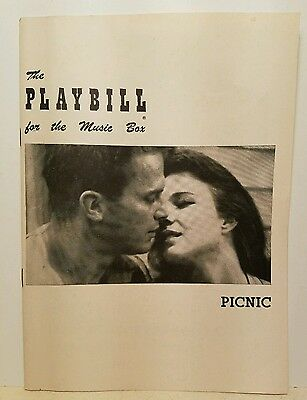 """The Playbill for the Music Box """"Picnic"""" Broadway Debut of Paul Newman 1953"""
