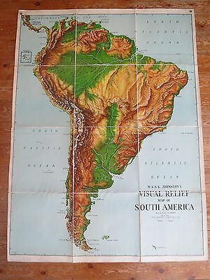 W & A K Johnston's Visual relief map of South America vintage maps