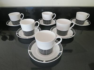 Royal Osborne black and white Caprice cups and saucers