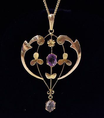 Antique Edwardian Amethyst Pendant with Chain in 9ct Yellow Gold