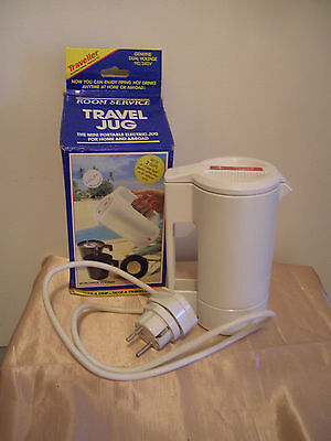 A Handy Travel Jug With Two Cups - Boxed With Adapter Plug