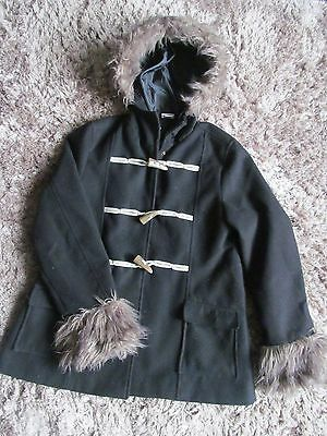 M&Co girls 13 years black winter coat jacket with fur hood