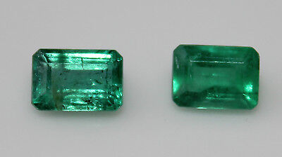 1.4 cts Pair of Colombian Emeralds - exquisite green colour (6x4)