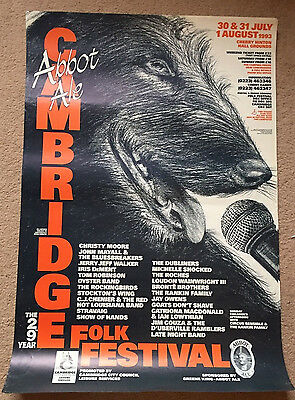 Cambridge Folk Festival Poster 1993 Promotional Dog With Microphone