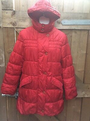 Marks And Spencer Indigo Hooded Red Puffa Style Girls Coat Age 13/14 Years