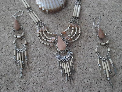 Alpaca Peruvian Jewellery Necklace And Earring Set Bamboo Lovely Freepost