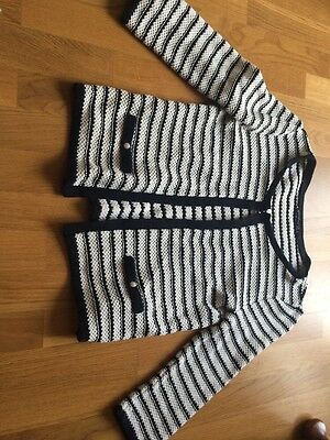 Striped Navy Cream Knitted Jacket Size 12 From Atmosphere