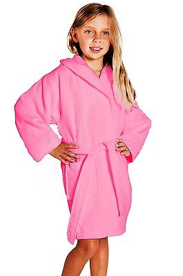 FUCHSIA Kid's Hooded Waffle Bathrobe,Turkish Cotton, Spa Party, Great Gift! NEW