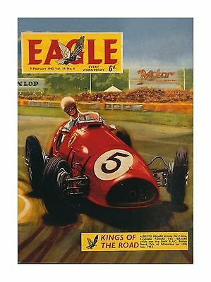 Ferrari World Champion Alberto Ascari - Eagle Comic Cover Reproduction Postcard