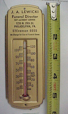 Vintage Funeral Home Thermometer, J.a. Lewicki Phila Pa