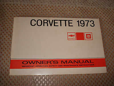 1973 Chevy Corvette Owners Manual Glove Box Book