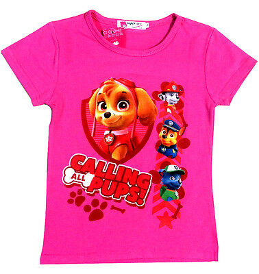New Size 6-7 Kids T-Shirt Tees Top Girls Children Outfits Summer Paw Patrol