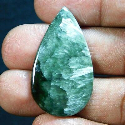 23.85Cts A+ 100% Natural 100% Natural  GREEN SERAPHINITE PEAR 38X22 Cabochon