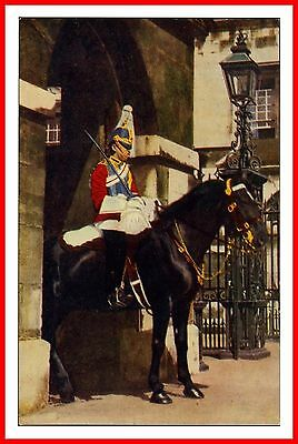 Mounted Life Guard Sentry At Horse Guards Whitehall Vintage J Salmon Postcard