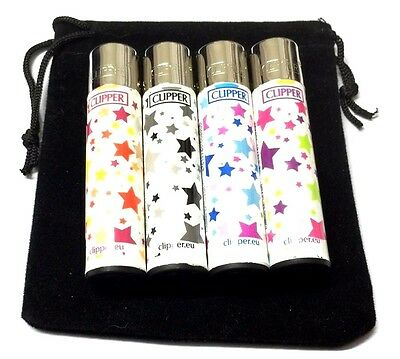 4 x CLIPPER LIGHTERS COLORFUL STARS GAS FLINT REFILLABLE LIGHTER with GIFT POUCH
