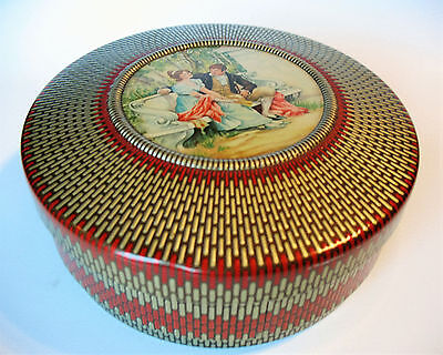 """Vintage 8"""" Round Biscuit Cookie Tin with Victorian Courtship Lithograph"""