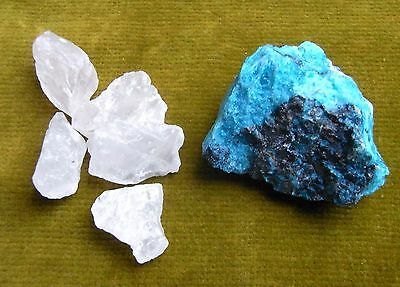 2 Boxes Of Geological Specimens, 1 Of Chrysocolla & 5 Pieces Of Rose Quartz