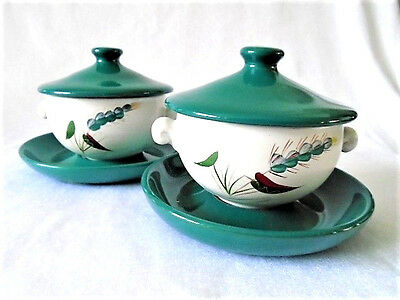 Set of 2 Vintage Denby Greenwheat Green Wheat Soup Bowls Coupes & Lids Saucers
