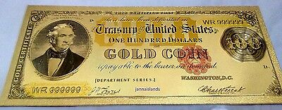 Gold Banknote Color 1882 Model $100,very nice goldfoil gift or collection