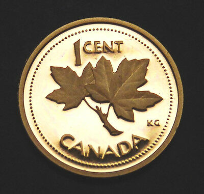 2002 Canada 1 cent frosted proof penny from Proof Set - ultra cameo