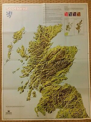 Original Post Office Special Poster/Wall Chart Scotland Definitive Stamps / Map.