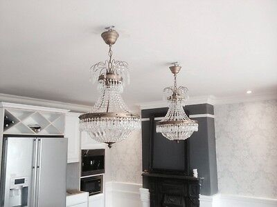 Matching Set, 4 Wall Lights 2 Chandeliers, Crystal & Brass