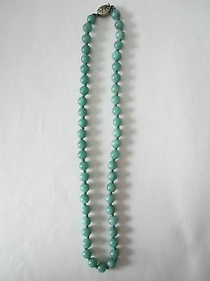 Vintage Chinese Jade Peking Style Glass Bead Choker Necklace Silver Clasp