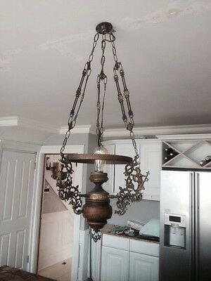 Antique Chandelier Hanging Brass & Wooden Ornate French Victorian