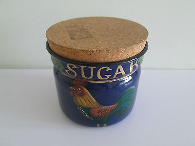 *wow* Emma Stubbs Hunk Handpainted Sugar Storage Jar Tin Cockerel Blue Cork Lid