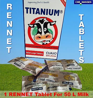 1 X  Rennet Tablets Titanium Vegetarian Coagulant For Any Cheese Making
