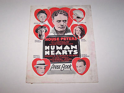 HUMAN HEARTS Rare Silent Film Pressbook House Peters, Mary Philbin, Must See!