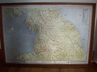 Large Vintage Plastic Raised Relief Map Of Northern England.
