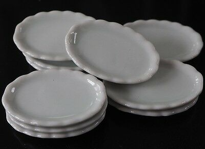 Dollhouse Miniatures 10 White Oval Plate Kitchenware Supply Deco 1:12