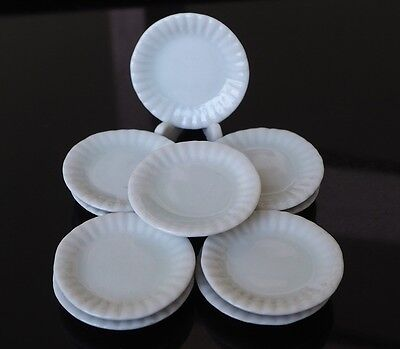 Dollhouse Miniatures 10x28 mm White Ceramic Plates Cookware Kitchenware Supply