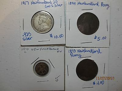 4  piece lot collection New Foundland coins vintage with silver  1873 1894 1917