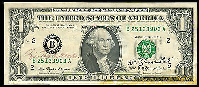 """1977 $1 One Dollar Frn Federal Reserve Note """"Dual Courtesy Autograph"""""""