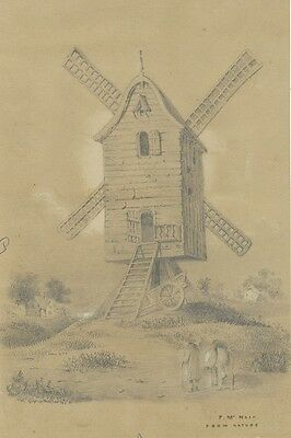 F. McNair, Weatherboarded Windmill - Original 19th-century graphite drawing