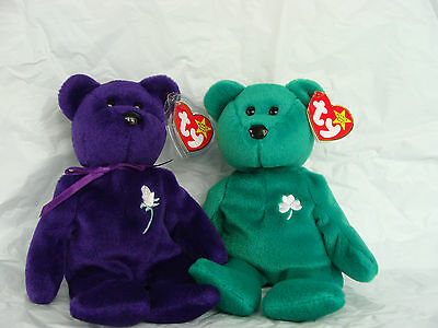 Ty Beanie Babies Princess Diana And Erin Bears Lot Of 2 Like New Condition