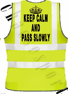 Hi Viz keep calm and pass slowly Equestrian safety tabard vest / jacket  hi vis